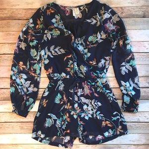 Navy Floral Long Sleeve Sheer Romper Onesie Shorts